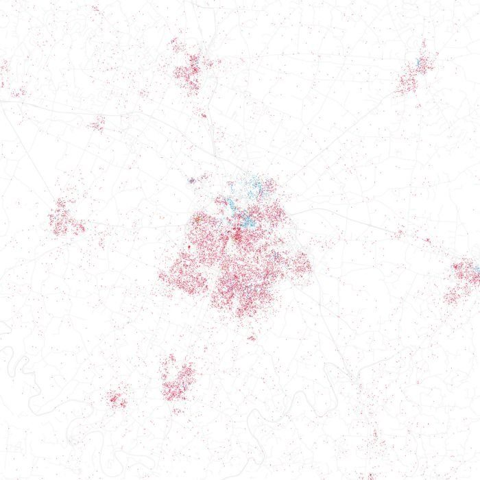Race and ethnicity of US cities by Eric Fischer
