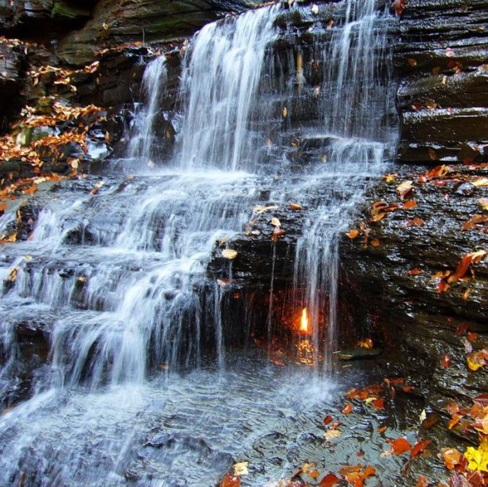 Eternal Flame Falls, Shale Creek Preserve, Chestnut Ridge Park, New York City, United States