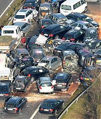 52-vehicle pile-up on a highway A31, Emsland Autobahn, Germany