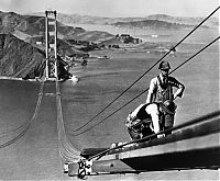 History: Construction of the Golden Gate Bridge, San Francisco, California, United States