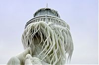 Trek.Today search results: Frozen lighthouse, St. Joseph North Pier, Lake Michigan, North America