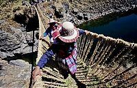 Cusco Inca rope bridge, Apurimac Canyon, Cuzco Province, Peru